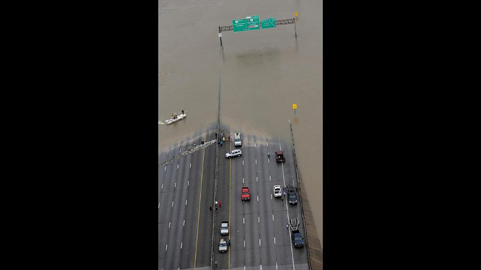 I-10 underwater after Hurricane Harvey