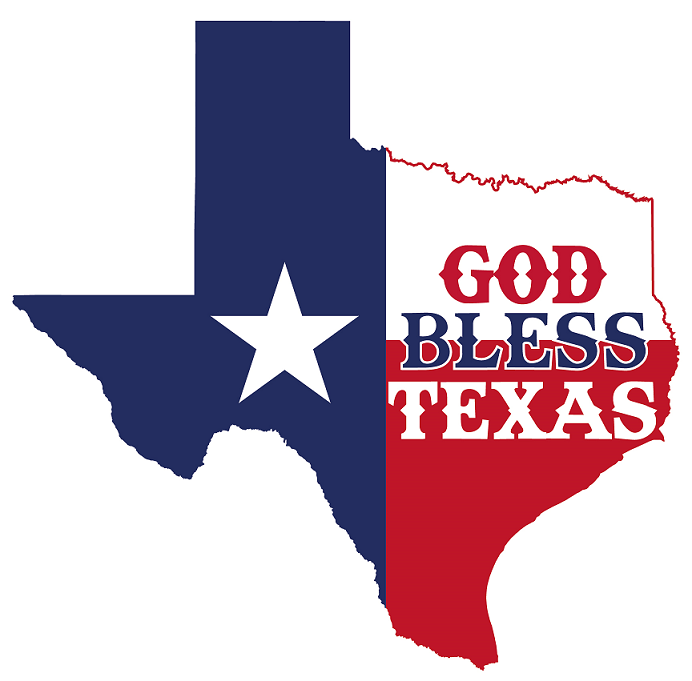 Texas state outline, colored blue, red, and white like the Texas flag, with writing God Bless Texas