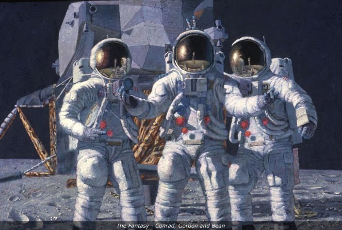 Painting of lunar landing craft with 3 astronauts in full gear and helmets standing on the moon's surface.