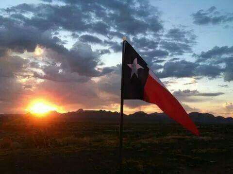 Sunset background with Texas lone-star flag waving in the breeze above a Texas prairie.
